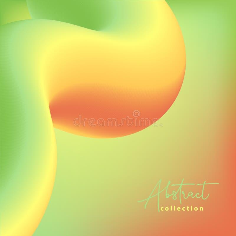 Fundo na moda abstrato do vetor verde, amarelo e alaranjado com formas fluidas do inclinação 3d, cores líquidas Projeto fluido is ilustração royalty free