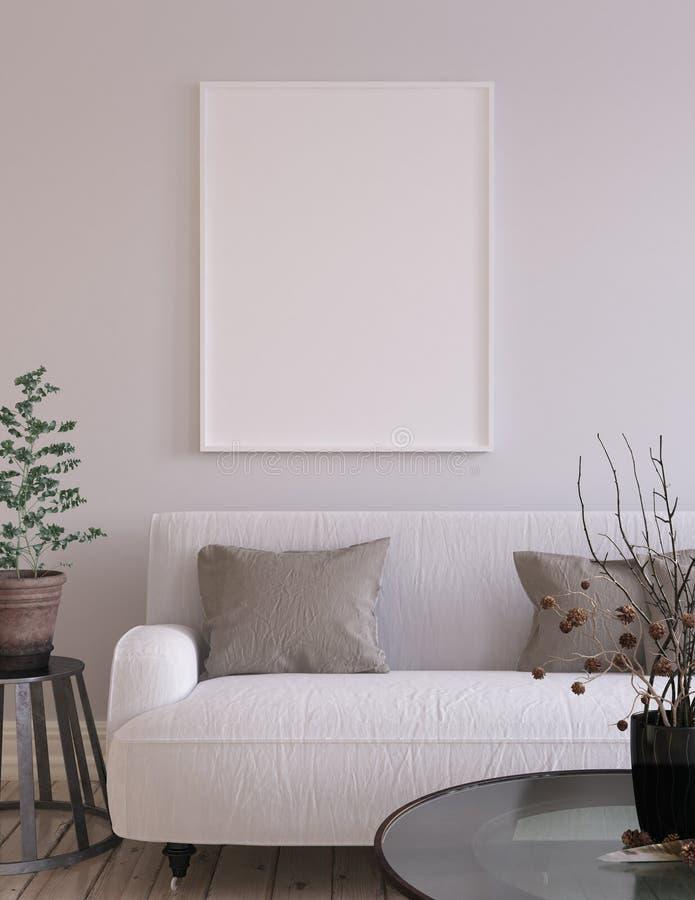 Fundo na sala de visitas interior, estilo escandinavo do cartaz do modelo fotos de stock royalty free