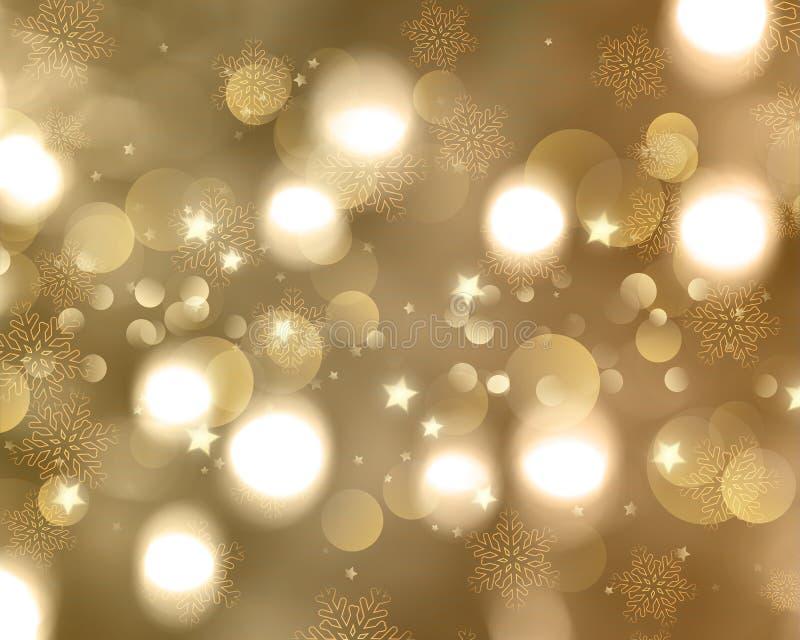 Fundo natalício de flocos de neve e estrelas foto de stock royalty free