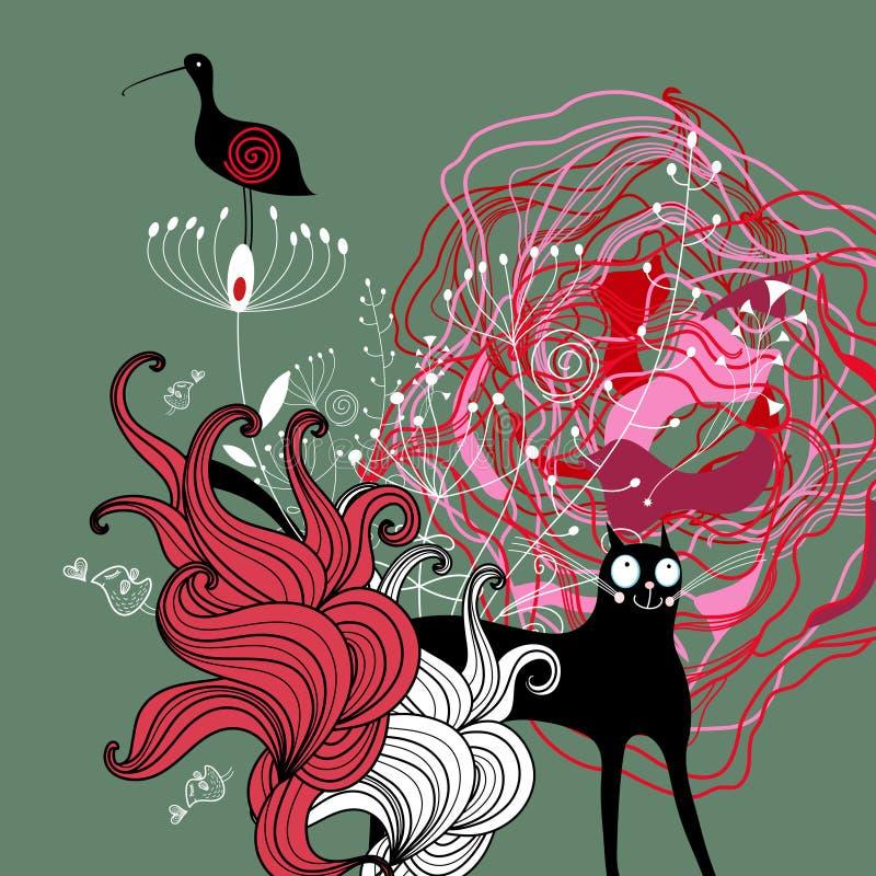 Fundo natural com animais ilustração do vetor