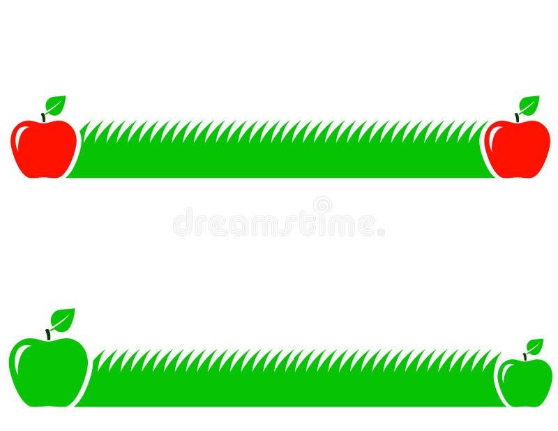 Fundo natural com grama verde e maçã ilustração royalty free