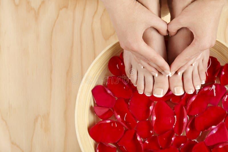 Fundo natural da madeira das rosas vermelhas do tratamento dos termas do tratamento de mãos do pedicure imagens de stock
