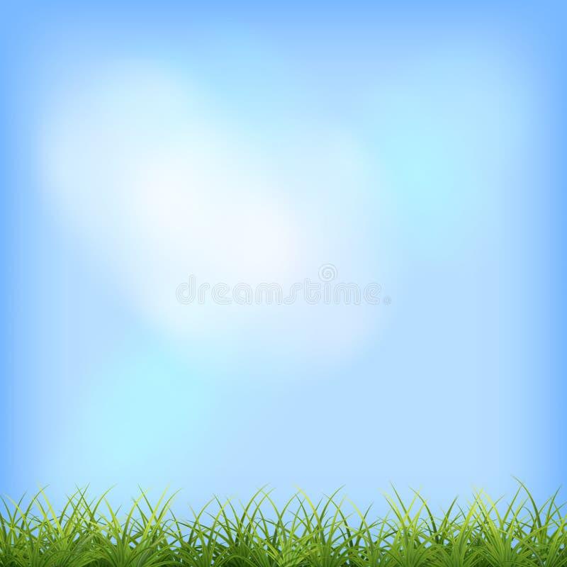 Fundo natural de céu azul de grama verde ilustração stock