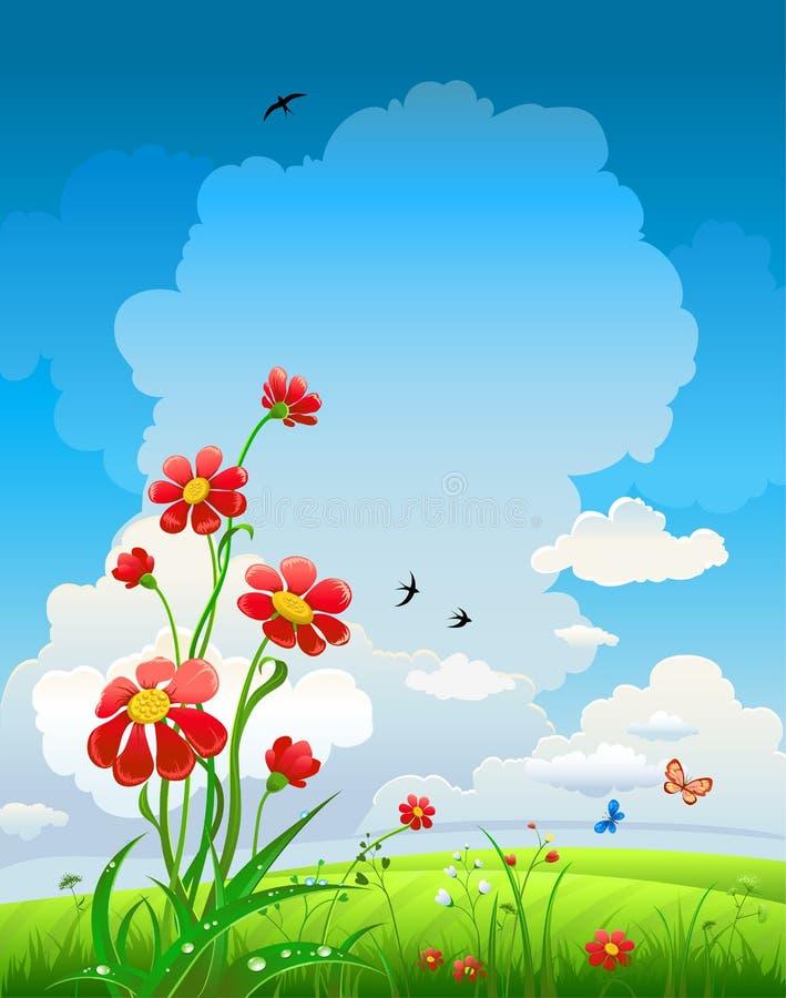 Fundo natural do verão com flores ilustração do vetor
