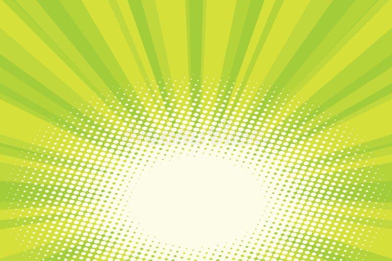 Fundo natural verde do pop art do nascer do sol do eco ilustração do vetor