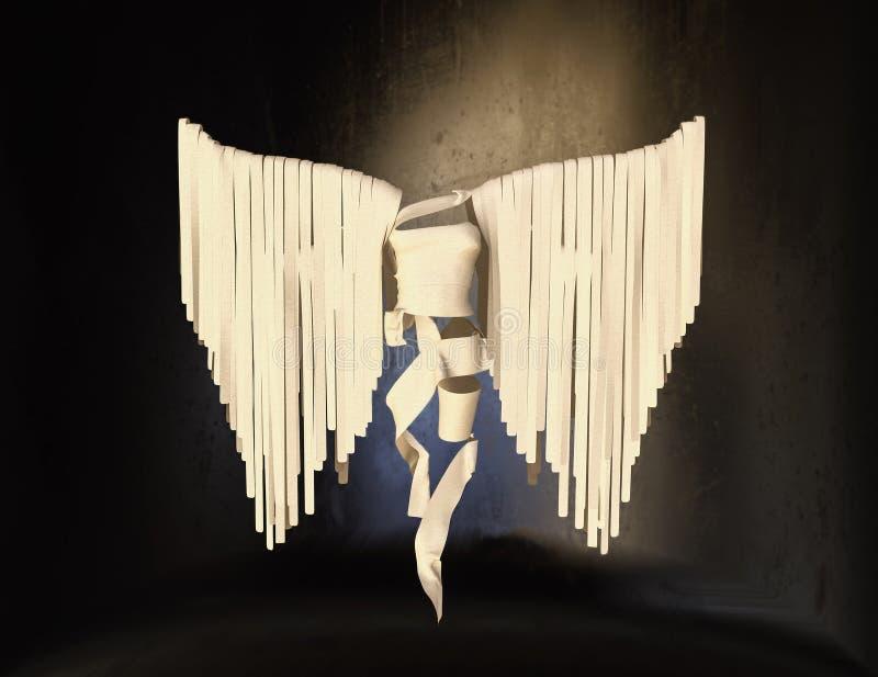Fundo neutro branco da forma 3D Angel On A ilustração do vetor