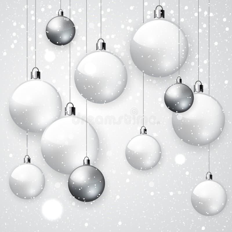 Fundo nevado branco com bolas do Natal ilustração stock