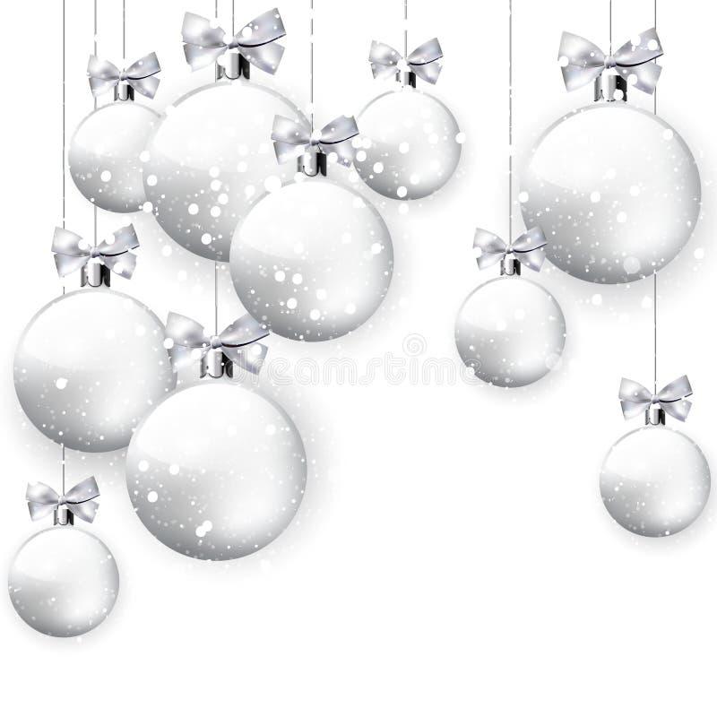 Fundo nevado branco da decoração do Natal ilustração stock