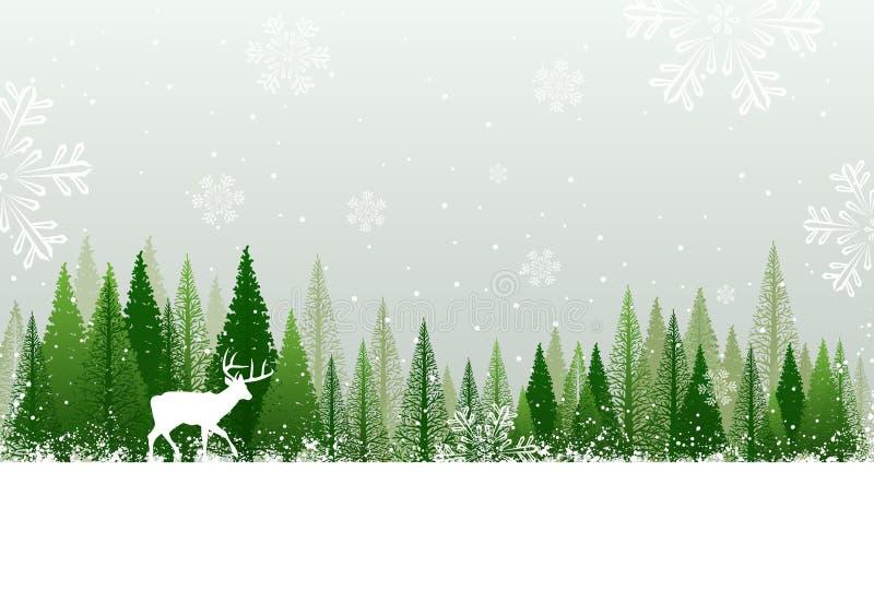 Fundo nevado da floresta do inverno ilustração royalty free