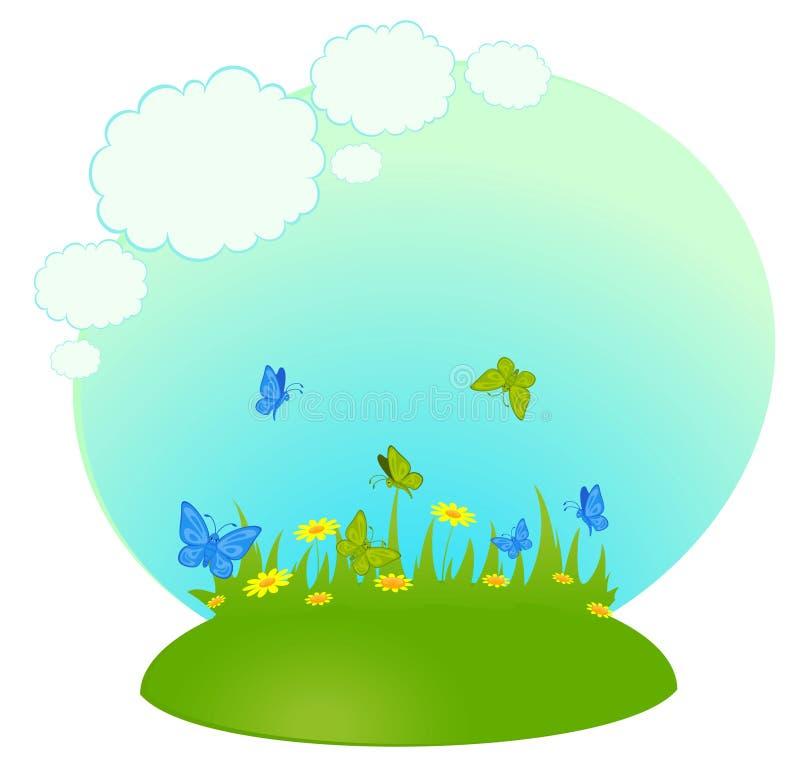 Fundo o campo com camomiles ilustração stock