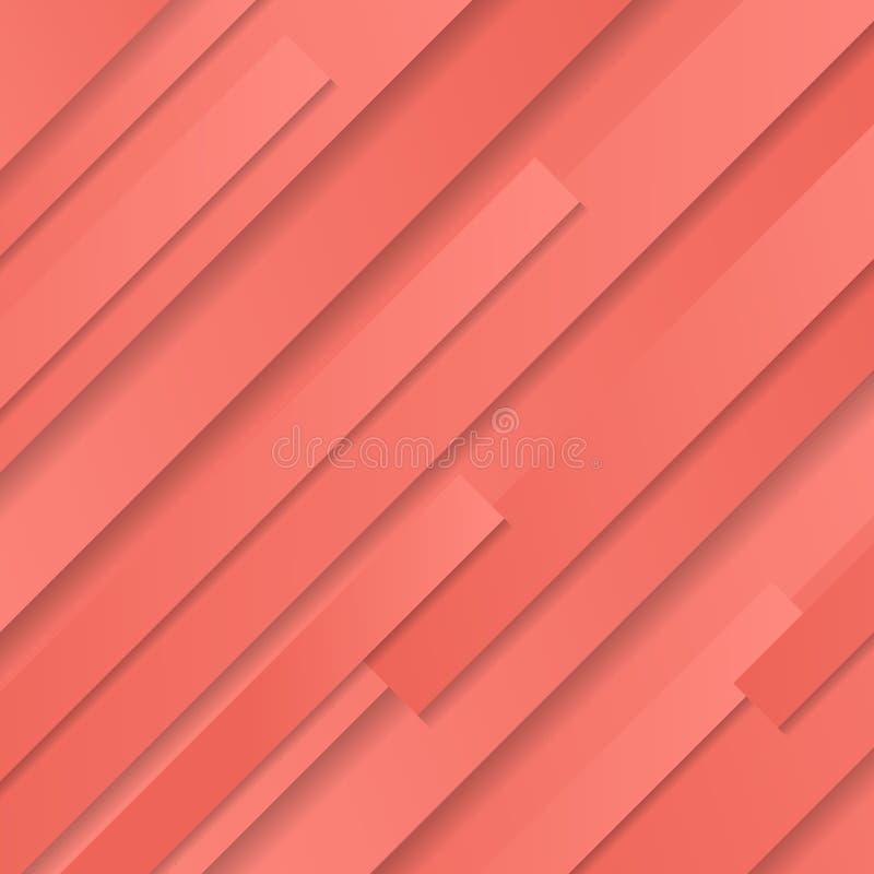 Fundo oblíquo geométrico listrado e textura do rosa coral abstrato da cor ilustração do vetor