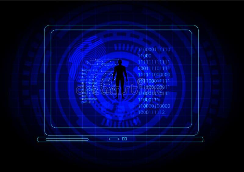 Fundo ocasional azul do homem do código binário Computação da tecnologia e conceito do Cyberspace ilustração do vetor