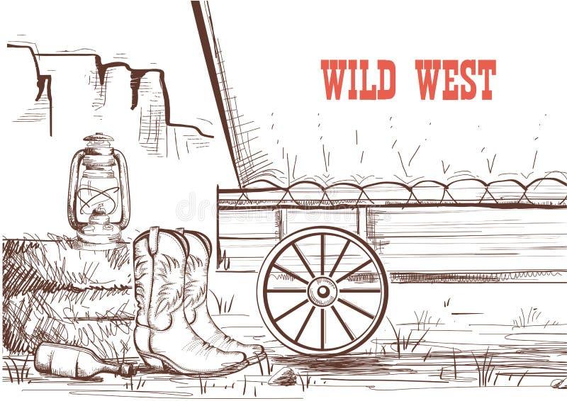 Fundo ocidental selvagem da tração da mão com botas de vaqueiro e o wa ocidental ilustração do vetor
