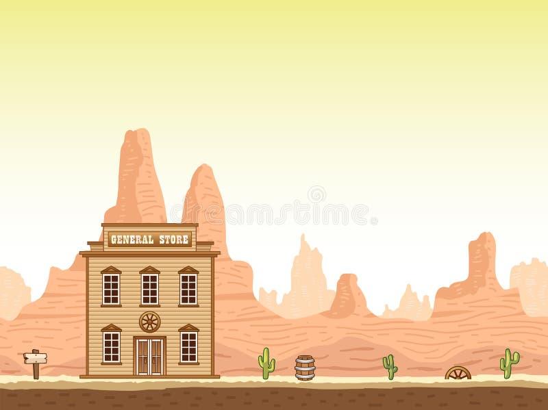 Fundo ocidental selvagem, velho da garganta com loja ilustração stock