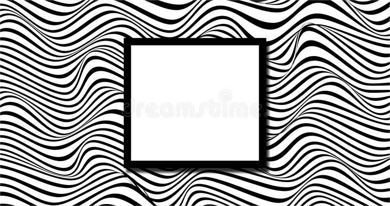 Fundo ondulado aleatório preto e branco ilustração stock