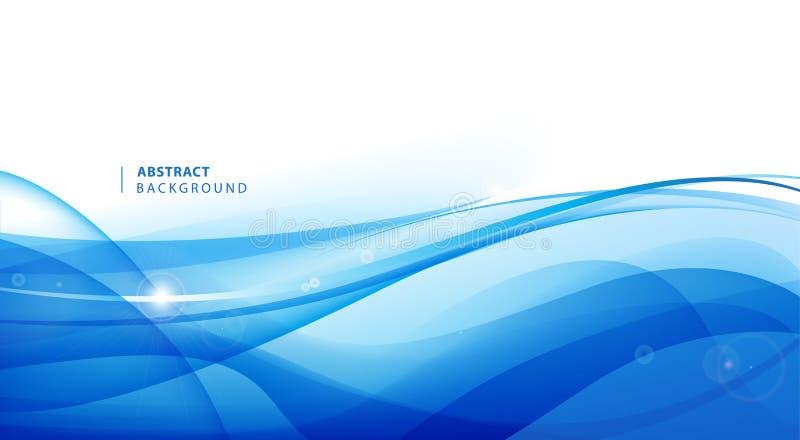 Fundo ondulado azul do vetor do sum?rio Molde do projeto gr?fico para o folheto, Web site, app m?vel, folheto ?gua, c?rrego ilustração do vetor