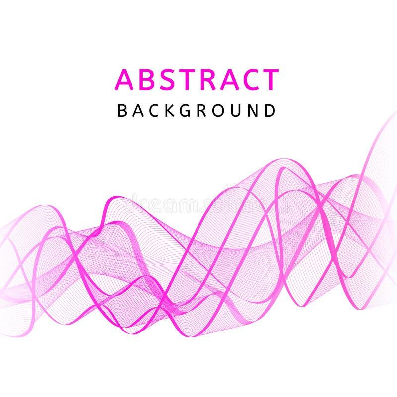 Fundo ondulado colorido transparente liso abstrato Movimento cor-de-rosa curvado do fluxo Projeto das ondas do inclinação do fumo ilustração do vetor