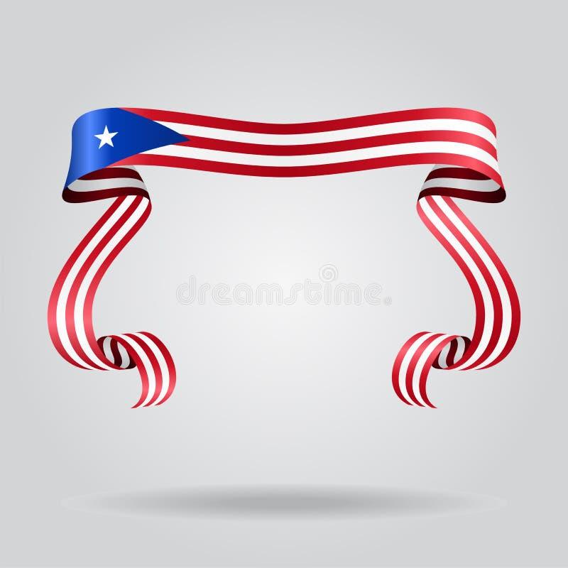 Fundo ondulado da fita da bandeira porto-riquenha Ilustração do vetor ilustração do vetor