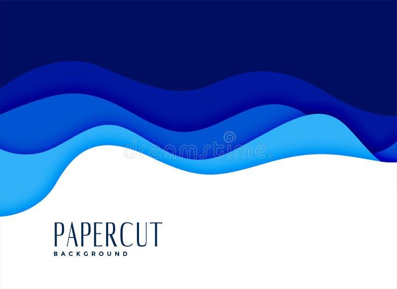 Fundo ondulado do estilo da água do papercut azul ilustração royalty free