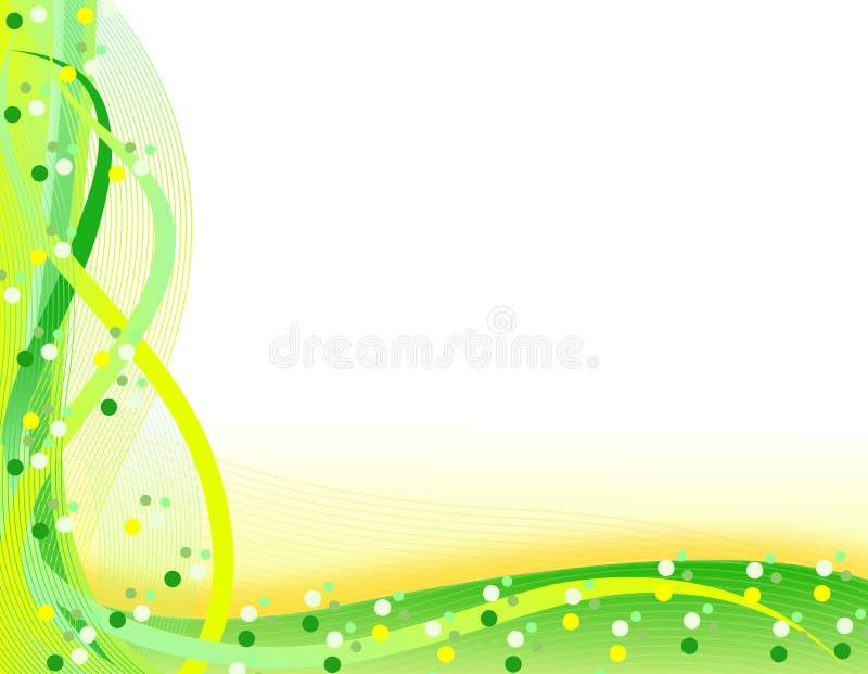 Fundo ondulado verde e alaranjado da mola imagem de stock