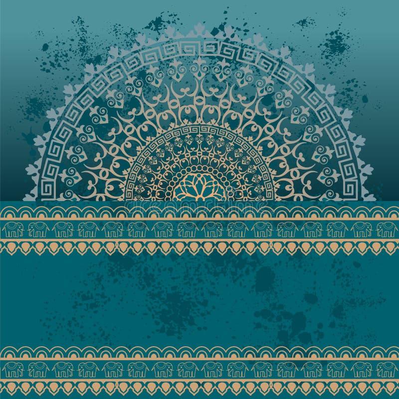 Fundo oriental azul da mandala da hena do grunge ilustração stock