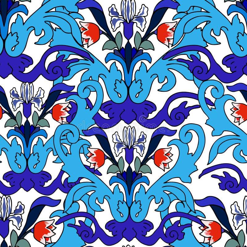 Fundo oriental da flor decorativa turca do azulejo da decoração ilustração stock