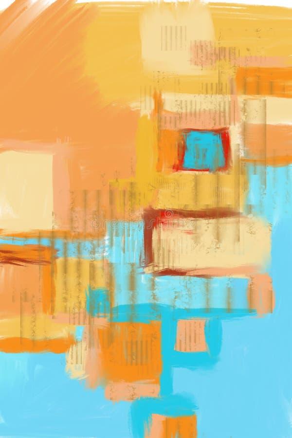 Fundo original pintado à mão e tirado da arte abstrato, pintura moderna completa Lotes de cursos da escova da pintura colorida Co ilustração do vetor