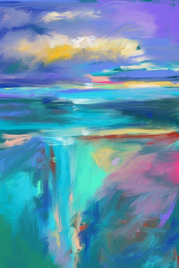 Fundo original pintado à mão e tirado da arte abstrato, pintura moderna completa Lotes de cursos da escova da pintura colorida Co ilustração royalty free