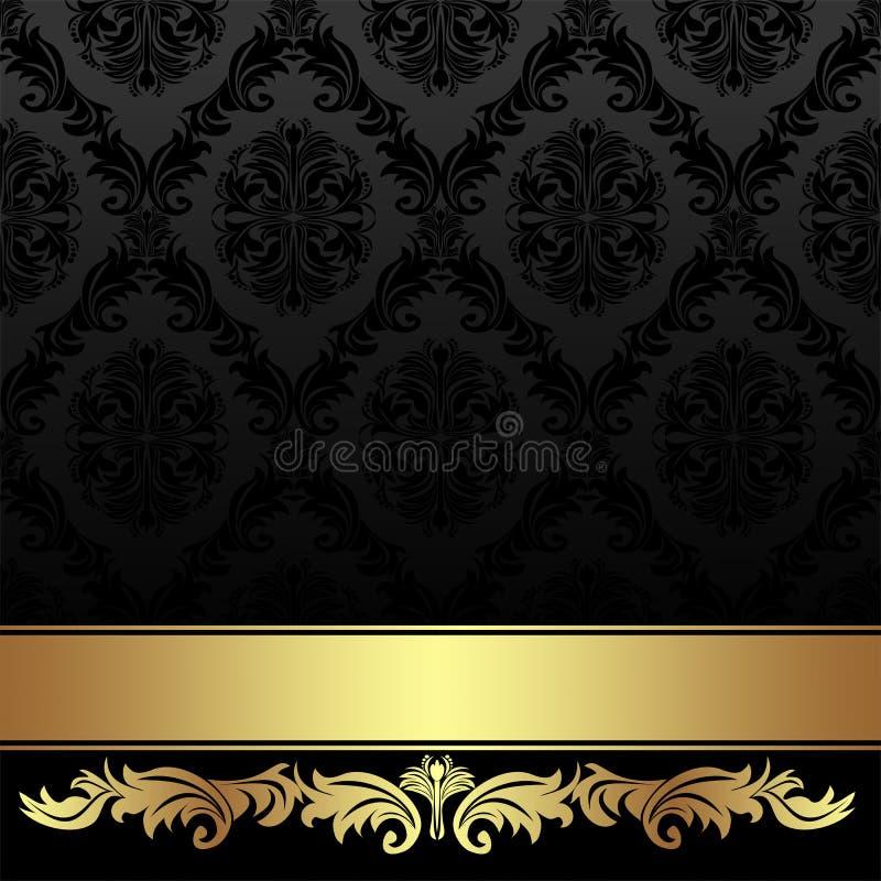 Fundo ornamentado do damasco do carvão vegetal com fita dourada ilustração do vetor