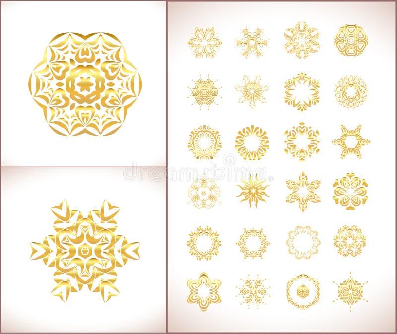 Fundo ornamentado floral do ouro do vetor Fundo elegante do ouro ilustração royalty free