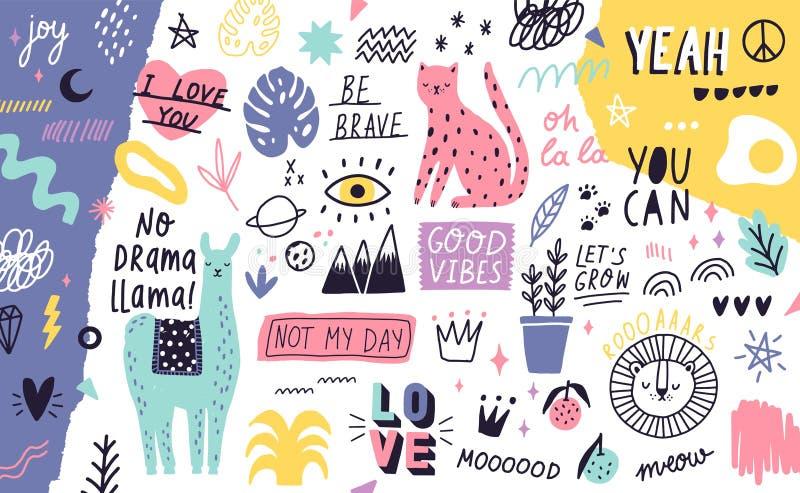 Fundo ou contexto horizontal decorativo com os animais exóticos bonitos, plantas, frutos, slogan inspiradores escritos à mão ilustração do vetor