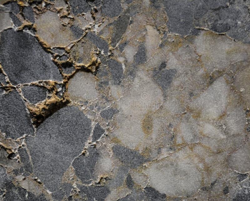 Fundo ou textura abstrata de uma pedra em uma seção, em uma máscara branca e cinzenta Material natural e contínuo cristais imagem de stock royalty free