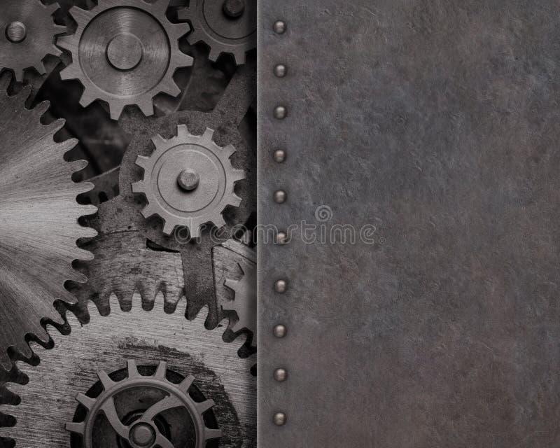 Fundo oxidado do metal com ilustração das engrenagens e das rodas denteadas 3d foto de stock royalty free