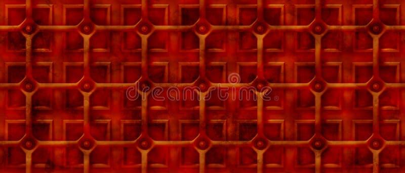 Fundo oxidado do steampunk 3d com uma grade sobre as formas quadradas (sem emenda) ilustração royalty free