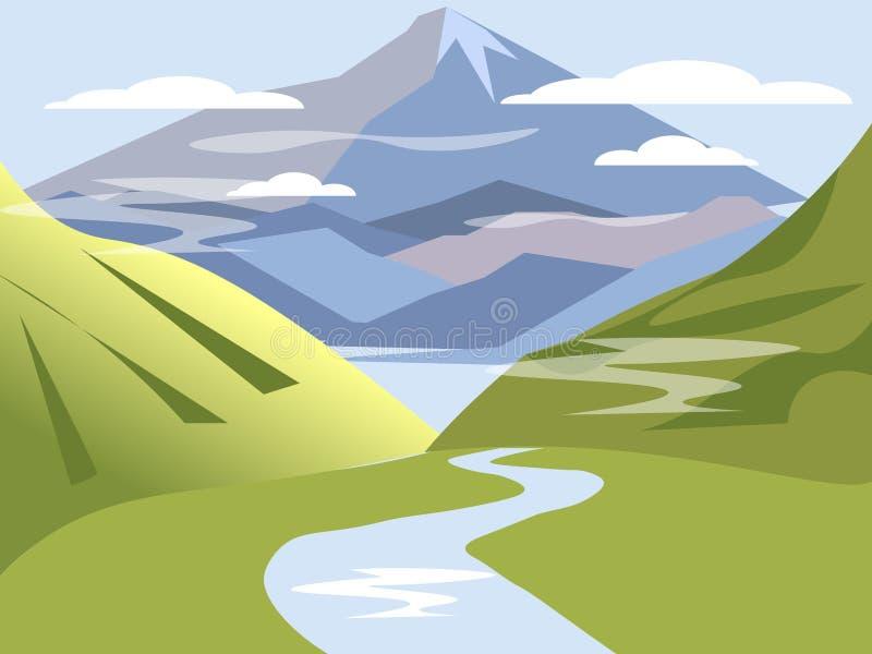 fundo, paisagem Vale dos montes com rio e montanhas No vetor liso dos desenhos animados minimalistas do estilo ilustração royalty free