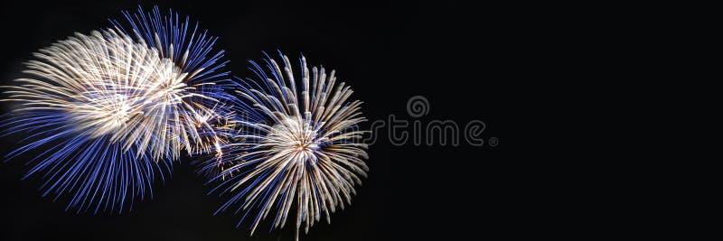 Fundo panorâmico do Fireworks com espaço de cópia imagens de stock royalty free