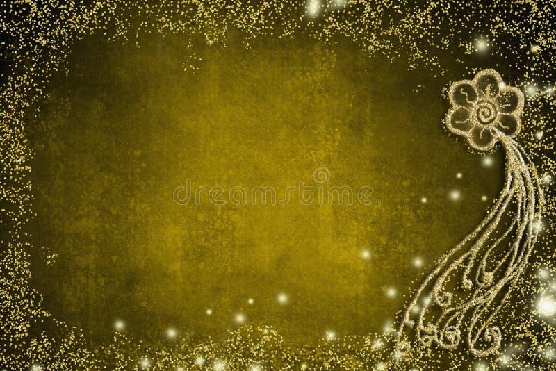 Fundo para cartões das celebrações, flor simples do ouro fotografia de stock royalty free