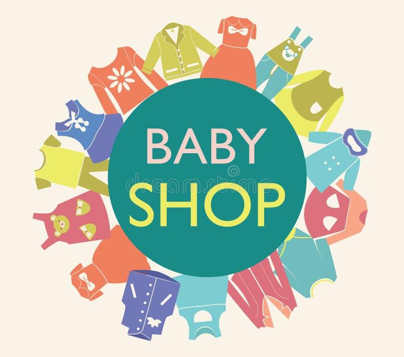 Fundo para a loja do bebê, ilustração royalty free