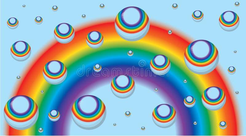 Fundo para o cartão - arco-íris e gotas ilustração royalty free