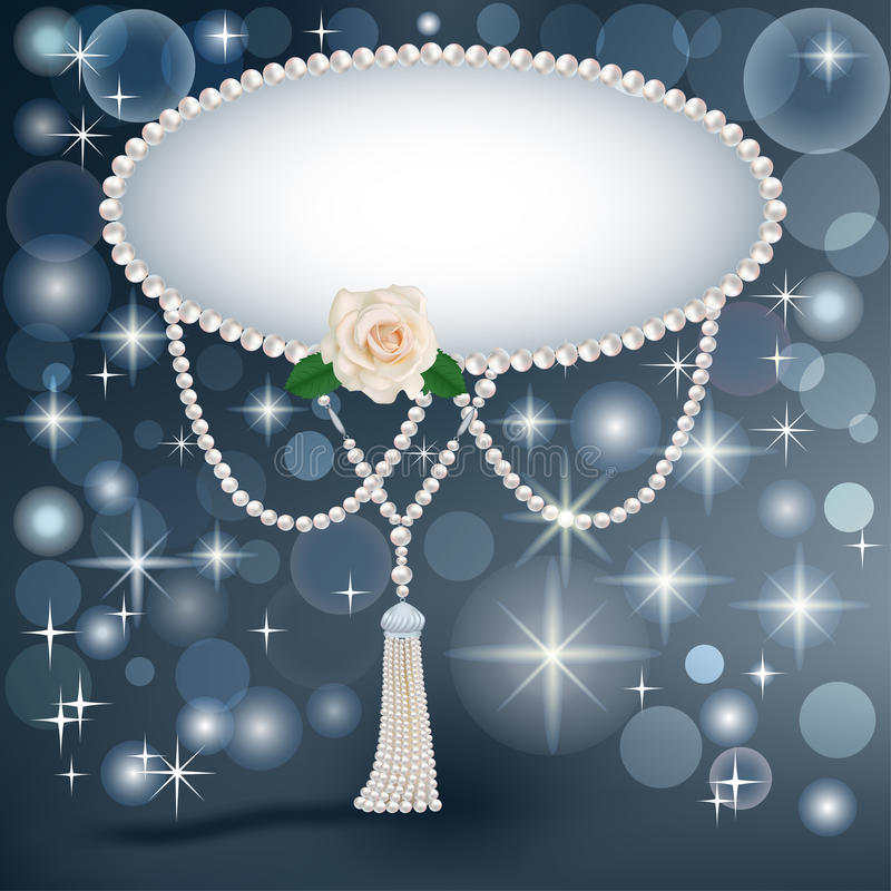 Fundo para o convite com estrelas das pérolas e uma rosa ilustração do vetor