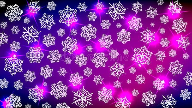 Fundo para o humor do ano novo Feliz Natal Flocos de neve e sparkles em tons roxos e azuis Dá um cosiness festivo ilustração royalty free