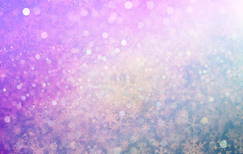 Fundo para o lilás cor-de-rosa de prata do efeito do bokeh do brilho do Natal fotografia de stock