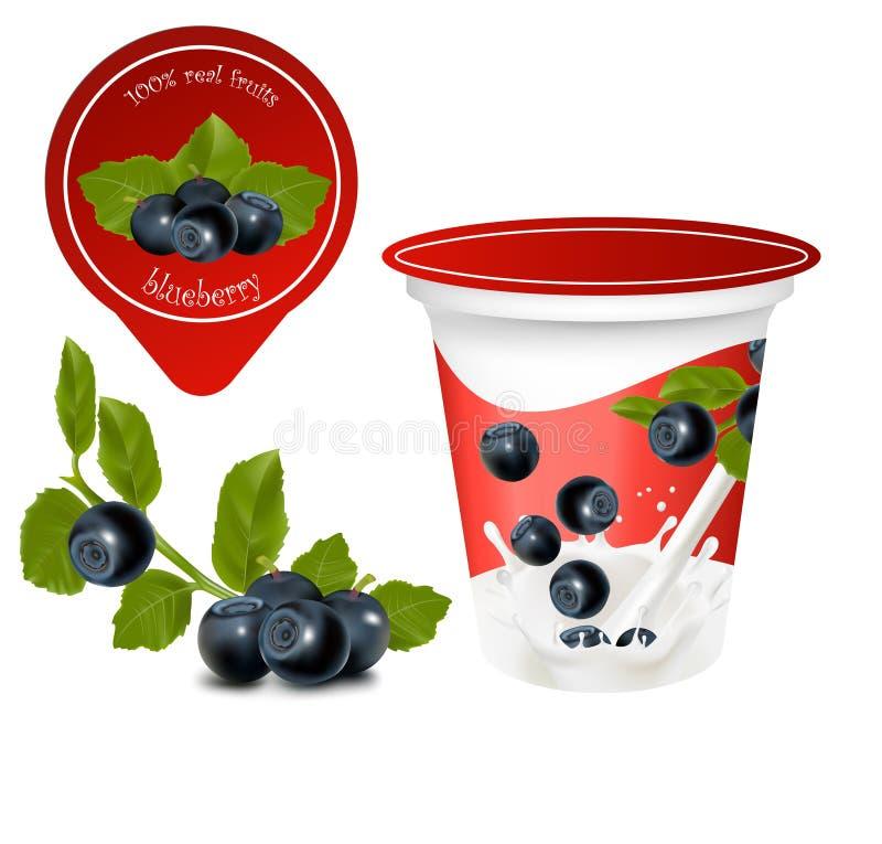 Fundo para o projeto do iogurte da embalagem ilustração royalty free