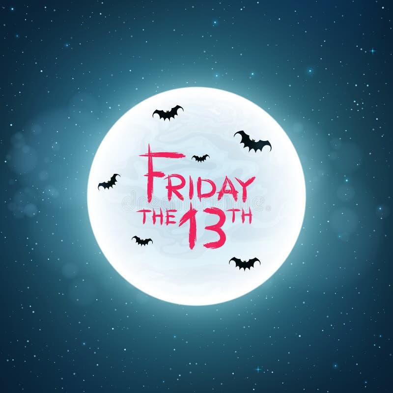 Fundo para o sexta-feira 13 Os bastões voam na perspectiva da Lua cheia Conceito assustador Texto ensanguentado no estilo do grun ilustração royalty free