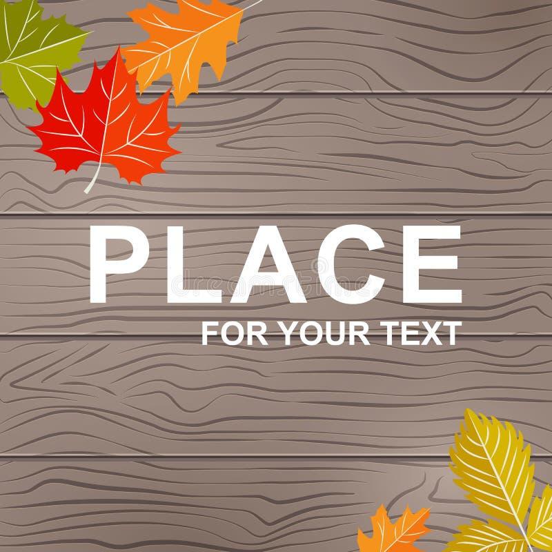 Fundo para o texto na textura de madeira com folhas do outono Fundo botânico na textura de madeira natural para ilustração stock