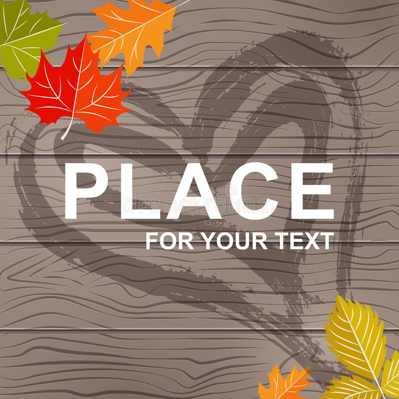 Fundo para o texto na textura de madeira com folhas do outono Fundo botânico na textura de madeira natural com mão ilustração stock