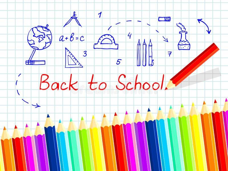 Fundo para o texto Um grupo de lápis coloridos de todas as cores do arco-íris Vetor imagem de stock royalty free