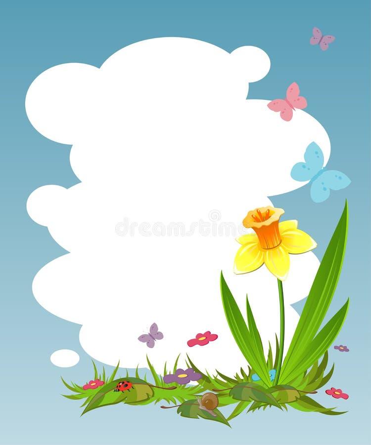 Fundo para seu texto com daffodil ilustração do vetor