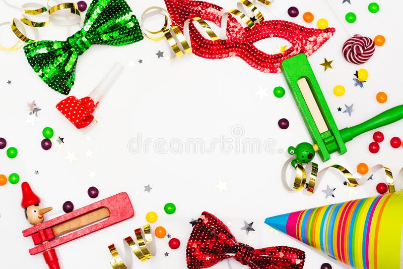 Fundo partido, carnaval ou do feriado festivo de Purim fotos de stock royalty free