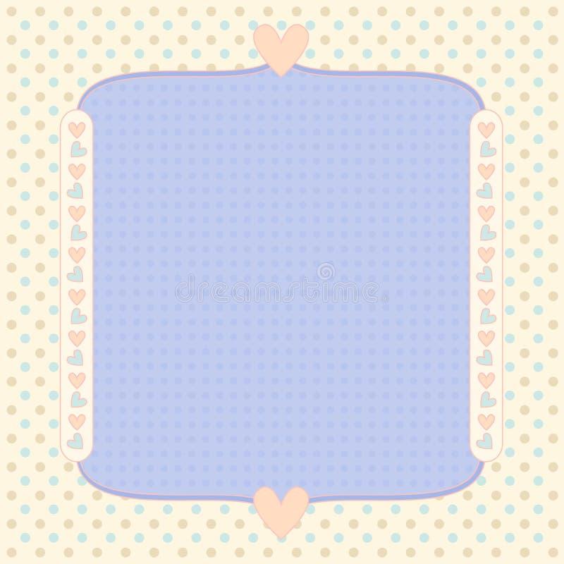 Fundo Pastel com pontos e corações ilustração royalty free